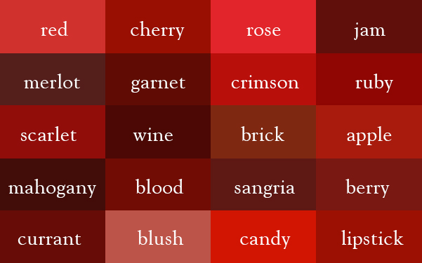 Red Paint Colors the color thesaurus - ingrid sundberg